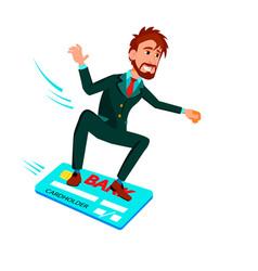 businessman sliding on credit card like on vector image