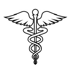 Caduceus health symbol asclepiuss wand icon black vector