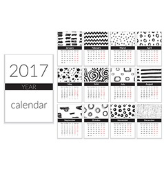 Calendar 2017 Year A4 Cards With Hand Drawn vector image