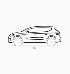 Car silhouette side view suv vector