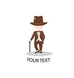 cartoon little boy wearing suit and brown top hat vector image