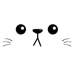 Cat sad head face silhouette square icon contour vector