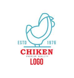 chicken premium quality logo estd 1976 badge vector image