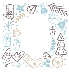 christmas background frame with xmas gifts caps vector image