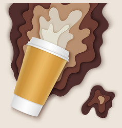 coffee cup with papercut coffee splashes and vector image