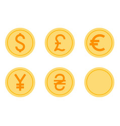 coins icons set vector image