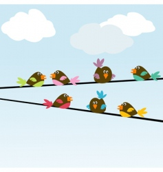 colored stylized birds on wires vector image