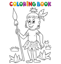 Coloring book aborigine theme 1 vector