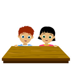 confused children behind the empty brown wood desk vector image