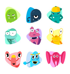 cute cartoon avatars and icons monster faces vector image