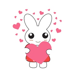Cute cartoon bunny girl in a pretty pink dress wit vector