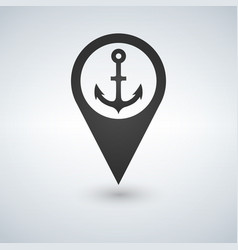 dark map pointer with anchor symbol icon isolated vector image