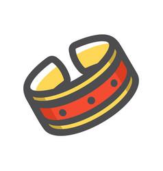 dog collar red icon cartoon vector image