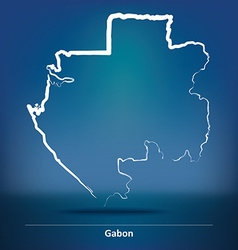 Doodle Map of Gabon vector image