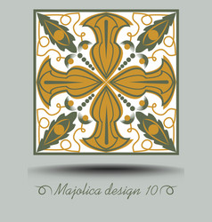 faience ceramic tile in nostalgic ocher and olive vector image