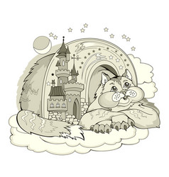 Fantasy cat dreaming in its fairyland toy kingdom vector
