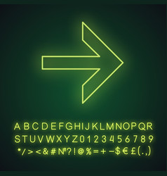Forward arrow neon light icon next right arrow vector