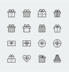 gift icons set in thin line style vector image