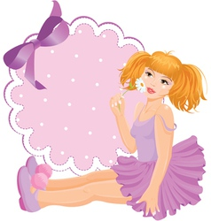 Girl doll against round lace frame with bow vector image