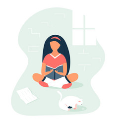 girl sitting and reading a book in a room vector image