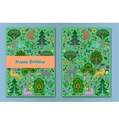 Greeting cardwith Wonderland Fun Forest vector