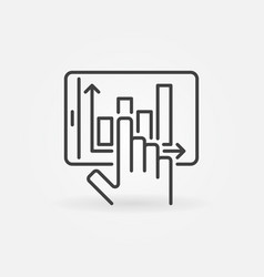 hand and tablet with graph outline concept vector image