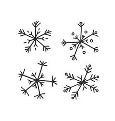 hand drawn set of vintage snowflakes black on vector image