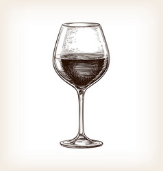 Hand drawn wineglass vector