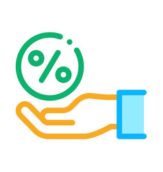 hand percentage icon outline vector image