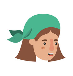 Head of woman with bandana avatar character vector