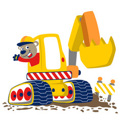 Heavy tool cartoon with funny worker vector