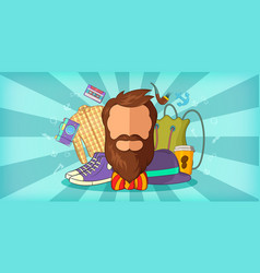 Hipster man horizontal banner blue cartoon style vector