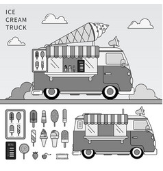 ice cream truck line monochrome vector image