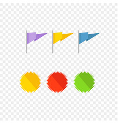 insignias and flags isolated on transparent vector image