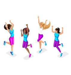 isometric set of female athletes jumping running vector image