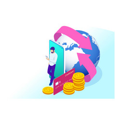 isometric technology online banking money transfer vector image