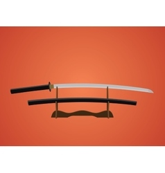 katana sword samurai japanese with red background vector image