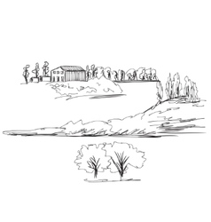 Landscape with Fields vector