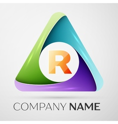 Letter R logo symbol in the colorful triangle vector