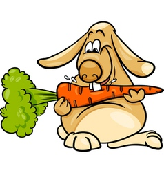 Lop rabbit with carrot cartoon vector