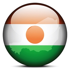 Map on flag button of Republic Niger vector