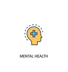 mental health concept 2 colored line icon simple vector image