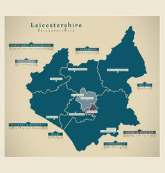 Modern map - leicestershire county with district vector