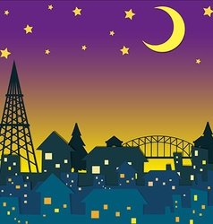Neighborhood at night time vector