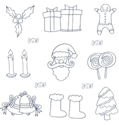 Object christmas set of doodle vector image