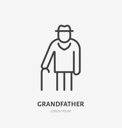 old man line icon pictograph grandfather vector image