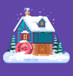 old water mill in wintermerry christmas and happy vector image
