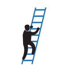 person climbing a career ladder icon vector image