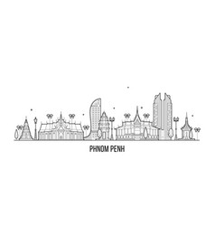 phnom penh skyline cambodia city linear art vector image