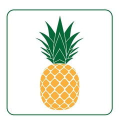 Pineapple with leaf icon yellow vector